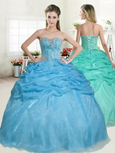 Sleeveless Floor Length Beading and Pick Ups Lace Up Sweet 16 Quinceanera Dress with Baby Blue