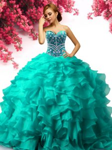 Fine Turquoise Sleeveless Organza Lace Up Quinceanera Dresses for Military Ball and Sweet 16 and Quinceanera