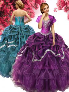 Pick Ups Dark Purple Sleeveless Organza and Taffeta Lace Up Sweet 16 Dress for Military Ball and Sweet 16 and Quinceaner