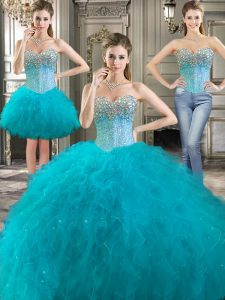 Three Piece Aqua Blue Sleeveless Floor Length Beading and Ruffles Lace Up Quinceanera Dress