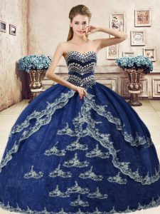 Navy Blue Ball Gowns Beading and Appliques Quinceanera Gown Lace Up Organza Sleeveless Floor Length