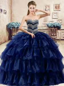 Adorable Ruffled Floor Length Ball Gowns Sleeveless Navy Blue Sweet 16 Quinceanera Dress Lace Up