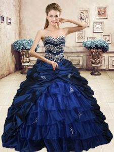Navy Blue Ball Gowns Beading and Appliques and Ruffled Layers and Pick Ups 15 Quinceanera Dress Lace Up Organza and Taff