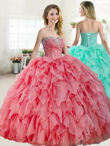 Sleeveless Floor Length Beading Lace Up Sweet 16 Dresses with Watermelon Red and Coral Red