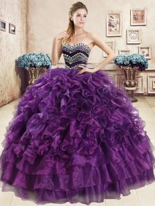 Low Price Sleeveless Beading and Ruffles Lace Up Quince Ball Gowns