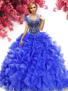 Eye-catching Royal Blue Sleeveless Beading and Ruffles Floor Length Ball Gown Prom Dress