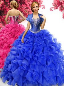 Flirting With Train Royal Blue Quinceanera Gown Sweetheart Sleeveless Sweep Train Lace Up