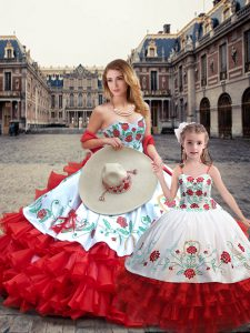 White And Red Sweet 16 Dresses Military Ball and Sweet 16 and Quinceanera and For with Embroidery Sweetheart Sleeveless
