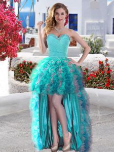 Aqua Blue Ball Gowns Organza Sweetheart Sleeveless Beading and Ruffles High Low Lace Up Evening Dress