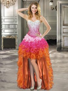 Organza Sweetheart Sleeveless Lace Up Beading and Ruffles Homecoming Dress in Multi-color