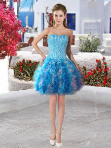 Unique Ball Gowns Prom Evening Gown Baby Blue Sweetheart Organza Sleeveless Mini Length Lace Up