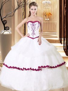Comfortable Embroidery and Ruffled Layers Quinceanera Dress White Lace Up Sleeveless Floor Length