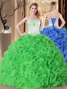 Excellent Strapless Sleeveless Quinceanera Gowns Floor Length Embroidery and Ruffles Fabric With Rolling Flowers
