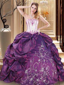 Purple Ball Gowns Embroidery Sweet 16 Dress Lace Up Taffeta Sleeveless Floor Length