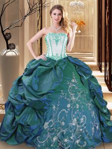 Strapless Sleeveless Taffeta Ball Gown Prom Dress Embroidery and Pick Ups Lace Up