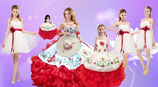 Captivating Sleeveless Organza Floor Length Lace Up Quinceanera Gown in White And Red with Beading and Ruffles