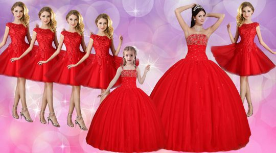 Edgy Red Tulle Lace Up Strapless Sleeveless Floor Length Quinceanera Gown Beading