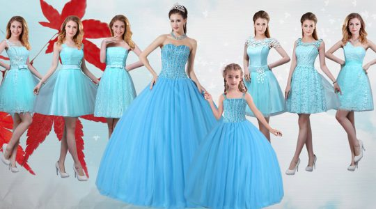 Baby Blue Strapless Neckline Beading Quinceanera Dress Sleeveless Lace Up
